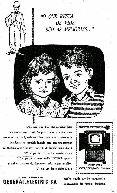'Crie este ambiente de família unida que a TV proporciona', dizia o anúncio do televisor G&E em 1952