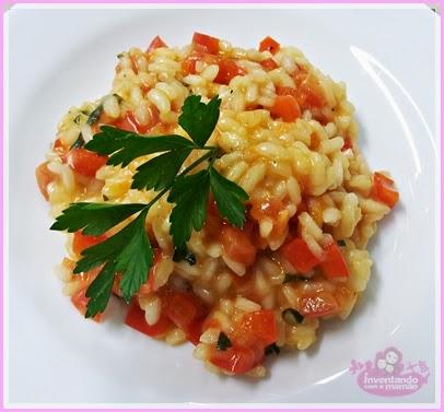Risoto de pimentão e tomate