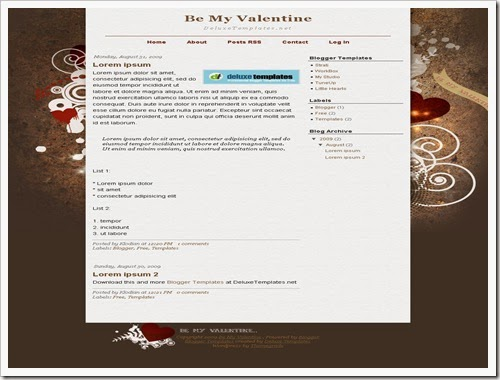 be my valantine best lover blogger template and love theme for blogger free download