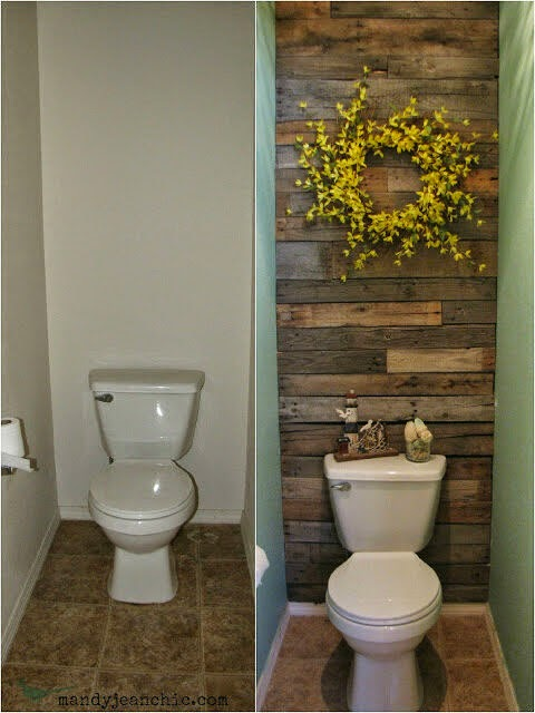 Small Toilet Room Revamp with Reclaimed wood - The Lazy DIY'er - Pallet Furniture Round-up - Chamomile and Peppermint Blog