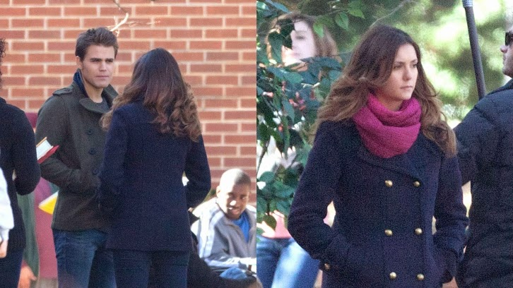 The Vampire Diaries - Episode 6.12 - Set Photos of Nina Dobrev and Paul Wesley