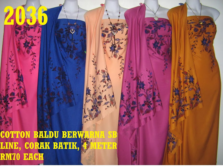 CB 2036: COTTON BALDU BERWARNA SB LINE, CORAK BATIK, 4 METER, 5 COLORS