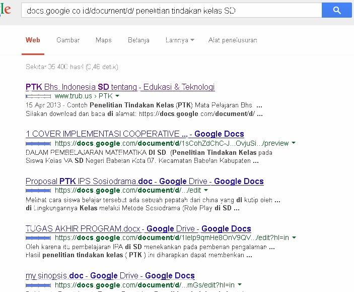 contoh hasil pencarian file download Penelitian Tindakan Kelas SD di