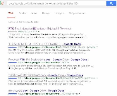 contoh hasil pencarian file download Penelitian Tindakan Kelas SD di google drive