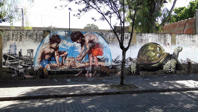 """Castles In The Sand"" New Street Art Collaboration by Australian artist Fintan Magee and Martin Ron in Buenos Aires. 1"