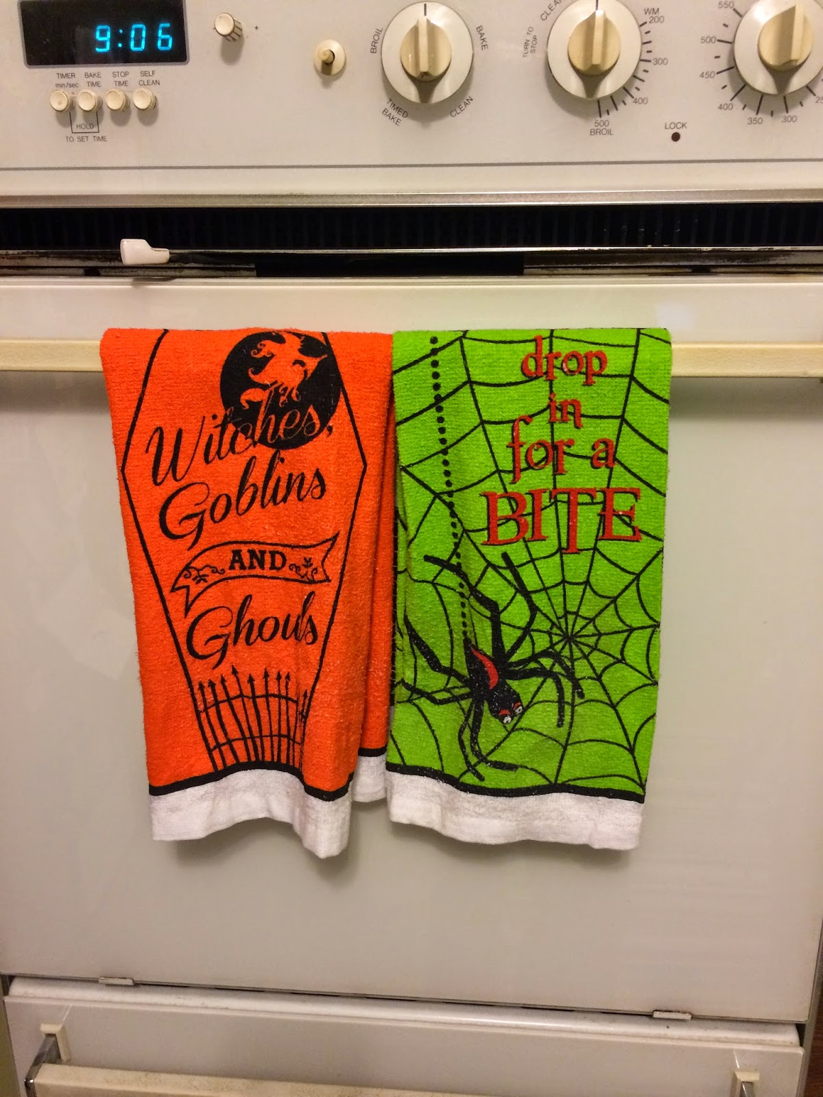 Dollar Store Halloween Dish Towels
