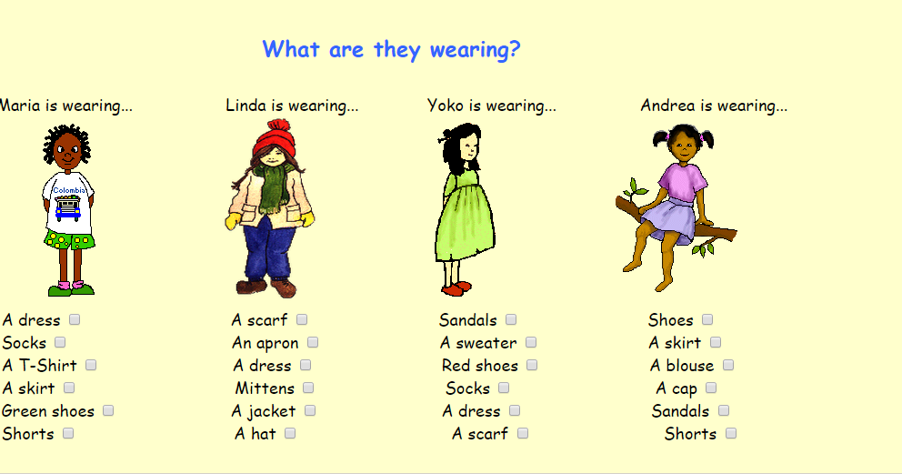 What Are They Wearing on Clothes Worksheet For Kids