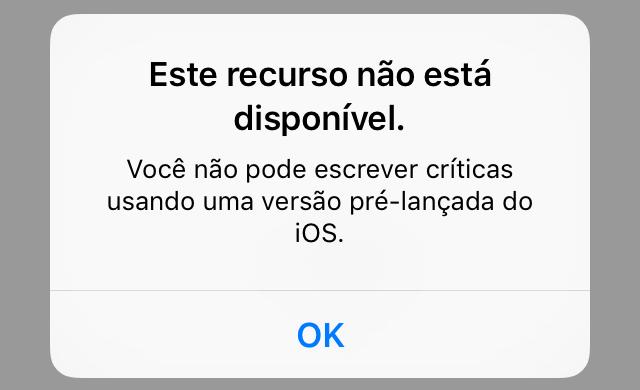 Críticas na App Store iOS beta