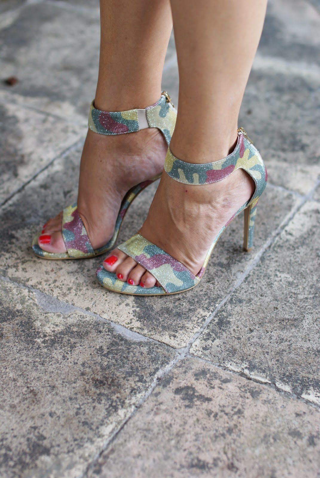 camouflage print shoes, camo sandals, Lorenzo Mari heels, Fashion and Cookies, fashion blogger