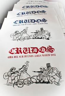 serigrafia poster afiche de la fecha de los crudos en buenos aires-los crudos-gira del sur 2013