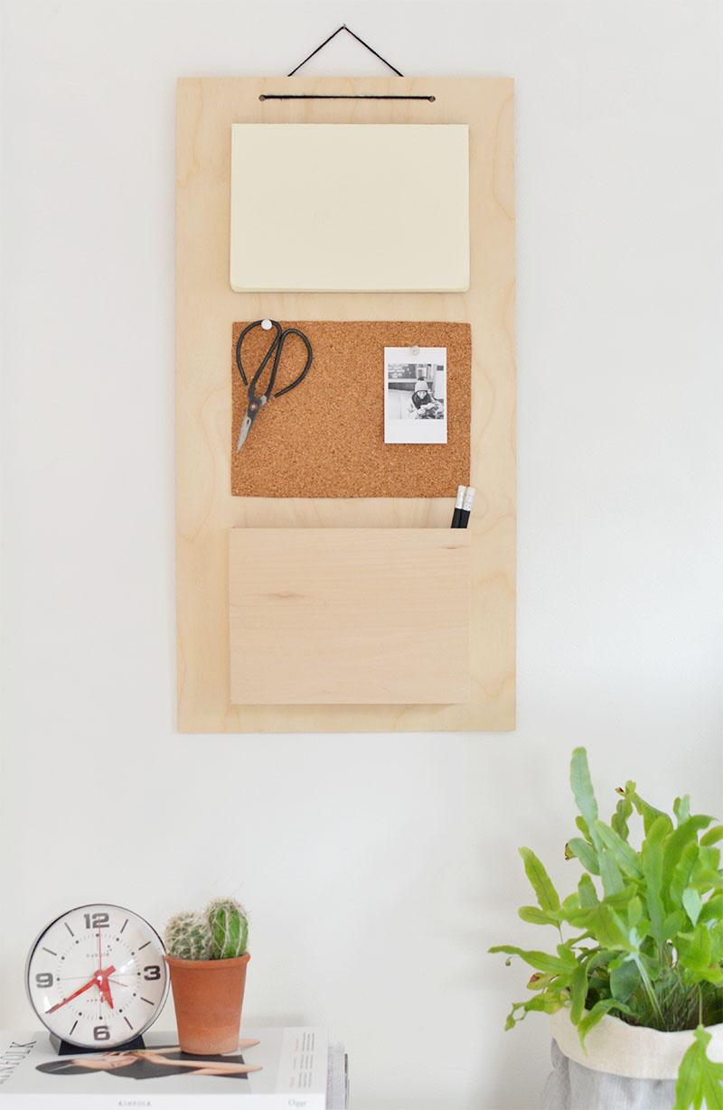 DIY hanging wall organiser