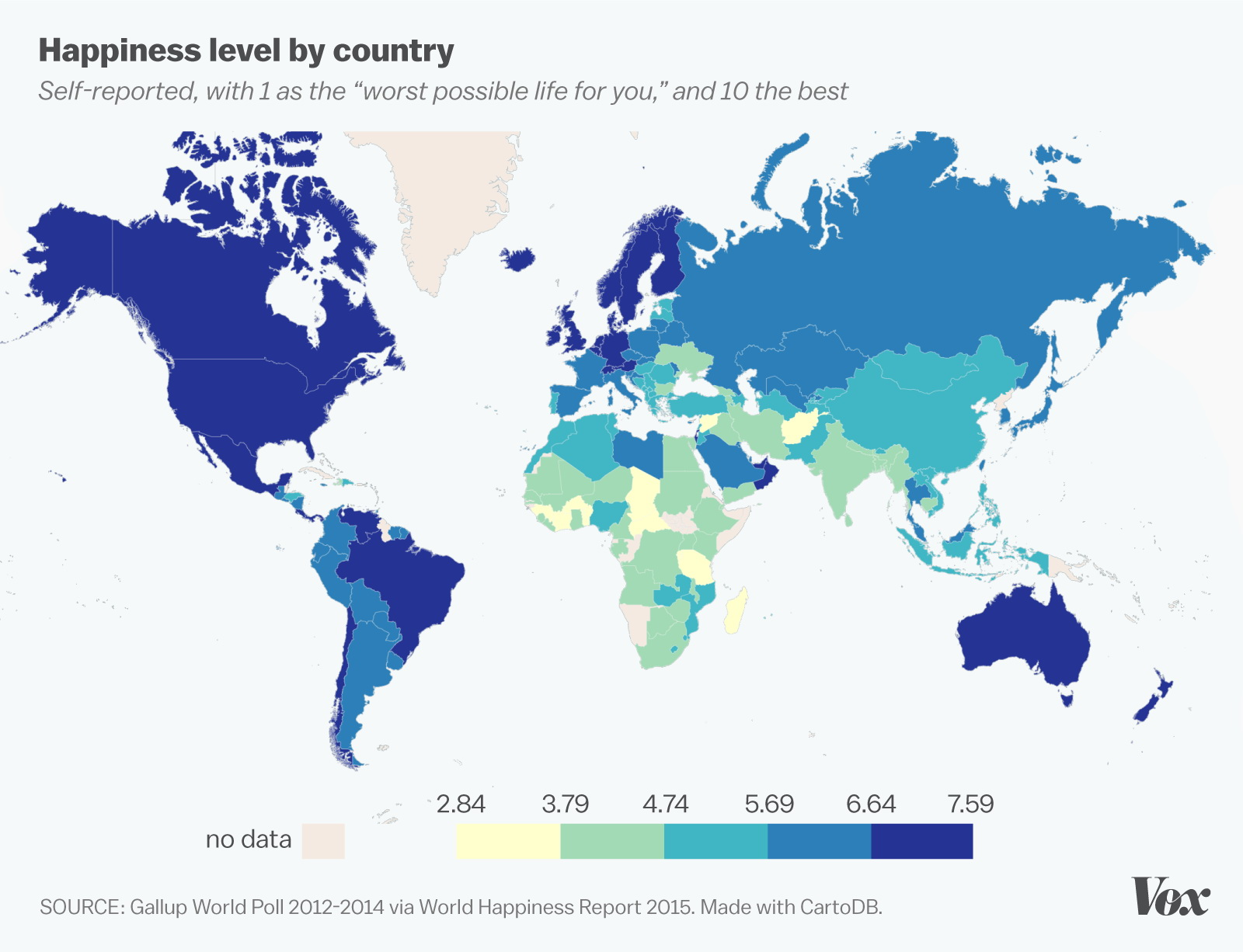 Happiness level by country