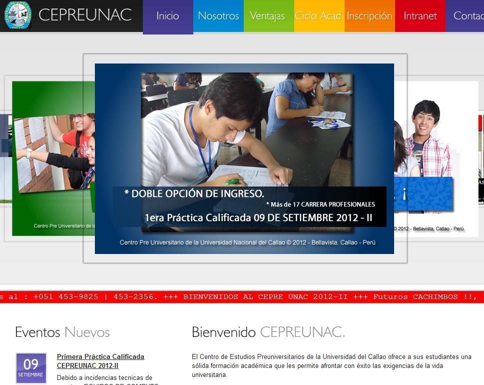 Resultados 1era Practica Calificada CEPREUNAC 2012 II