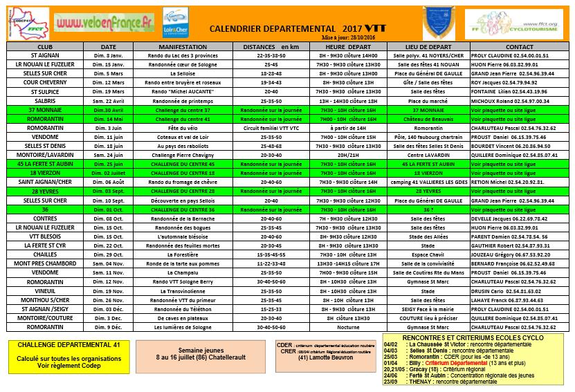 calendrier VTT 2017