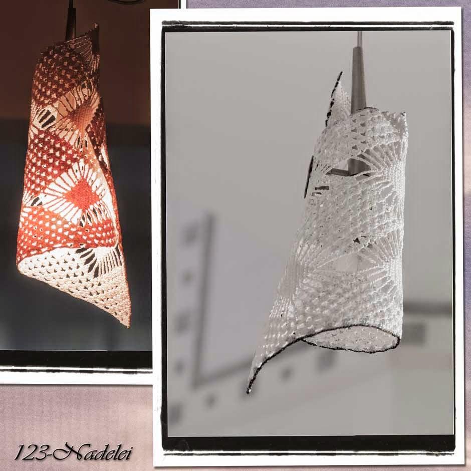 123-Nadelei: Lampenschirm trifft Häkeldeckchen