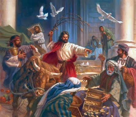 Resultado de imagen de Haciendo un látigo con cuerdas, echó a todos fuera del Templo, con las ovejas y los bueye