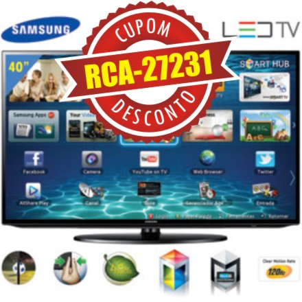 Cupom Efácil - Smart TV 40 LED Full HD Samsung UN40EH5300