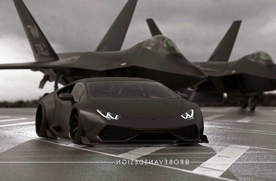 sport cars lamborghini huracan black matte a fighter plane by liberty walk. Black Bedroom Furniture Sets. Home Design Ideas
