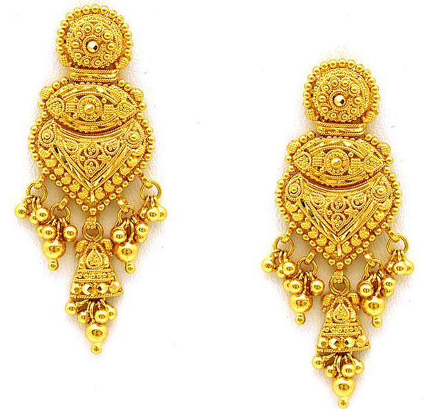 Gold earrings for indian wedding