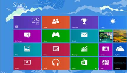 Tampilan Start Menu Windows 8