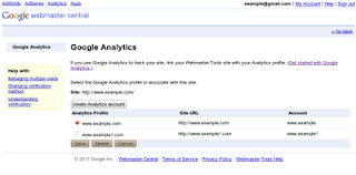 Associate Google analytics profile