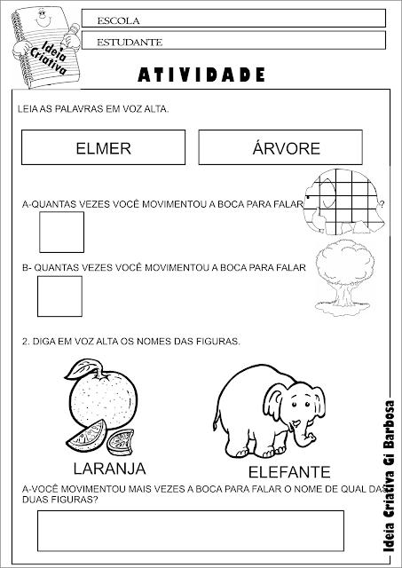 Atividade Elmer O Elefante Xadrez Consciência Silábica