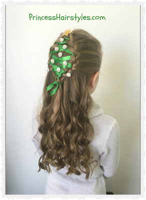 Adorable Christmas hairstyle.  Ribbon Christmas tree tutorial.