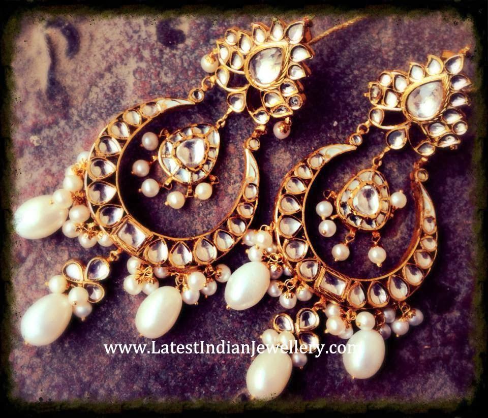 Kundan Chand Bali Earrings