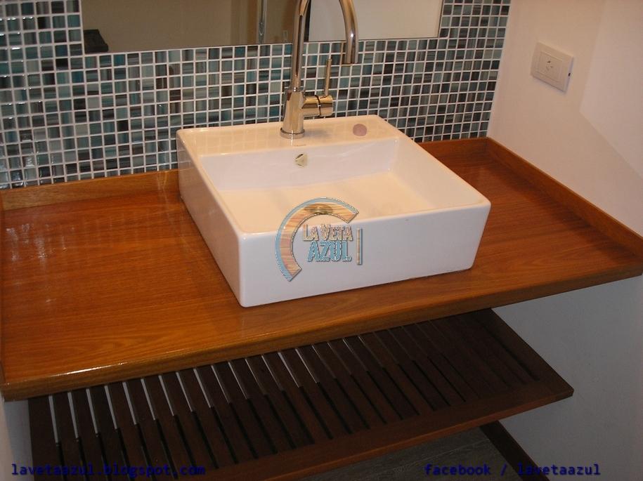 La veta azul mueble de ba o en madera maciza de cerejeira for Muebles de bano de madera maciza natural