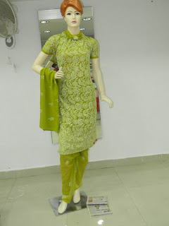 Lucknowi Chikan Green Stitched Cotton Suit