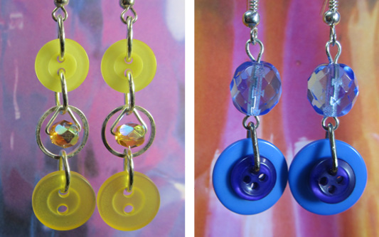 Long fun drop dangle earrings made with fashion buttons and colorful beads