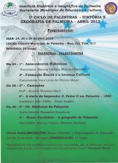 IHGP - 1º Ciclo de Palestras - História e Geografia de Palmeira