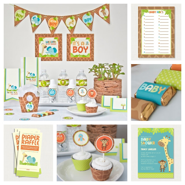 prickly press jungle safari baby shower party package