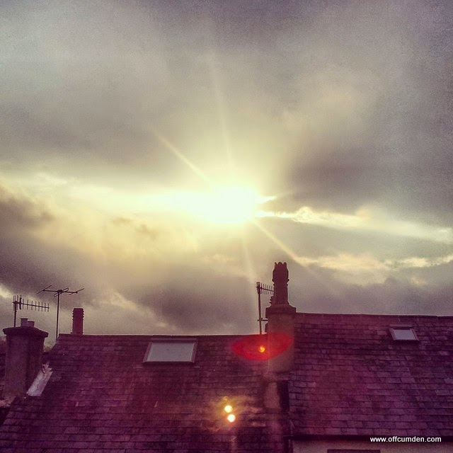 Sunshine through clouds