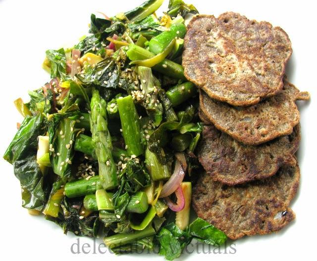 buckwheat oat flax pancake with collard greens and leeks