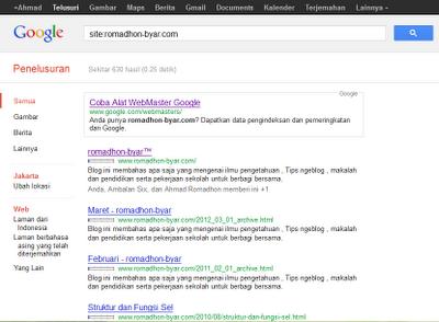 Cara mengetahui blog terindex Google