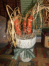 POTTED CALICO CARROTS - WHITE CRACKLED POT