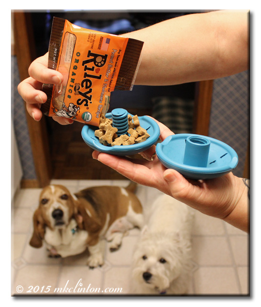 Filling PetSafe Twist 'n Treat with Riley's dog treats