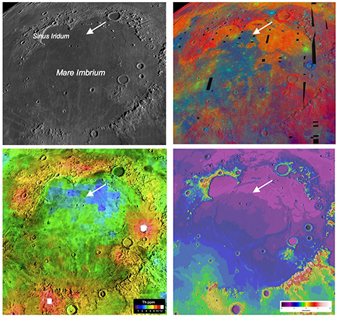 Four views of the Mare Imbrium basin and the Chang'e-3 landing site demonstrate how different the Moon looks to different types of remote sensing, underscoring the need for ground truth to calibrate the orbital observations. Credit: NASA/LPI