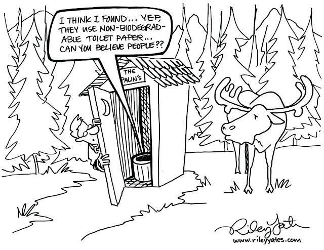Palin cartoon, Liberal Media cartoon width, outhouse cartoon