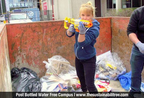 girl, dumpster, watergun