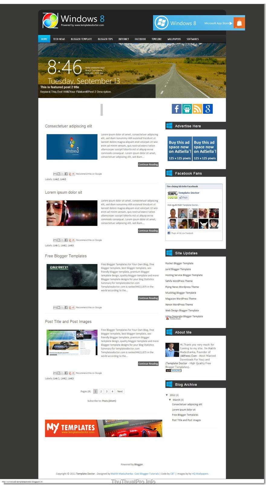 Template dạng metro đẹp cho blogger/blogspot