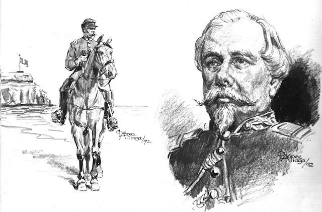 Coronel Francisco Bolognesi Cabalgando en Arica Peru 1880