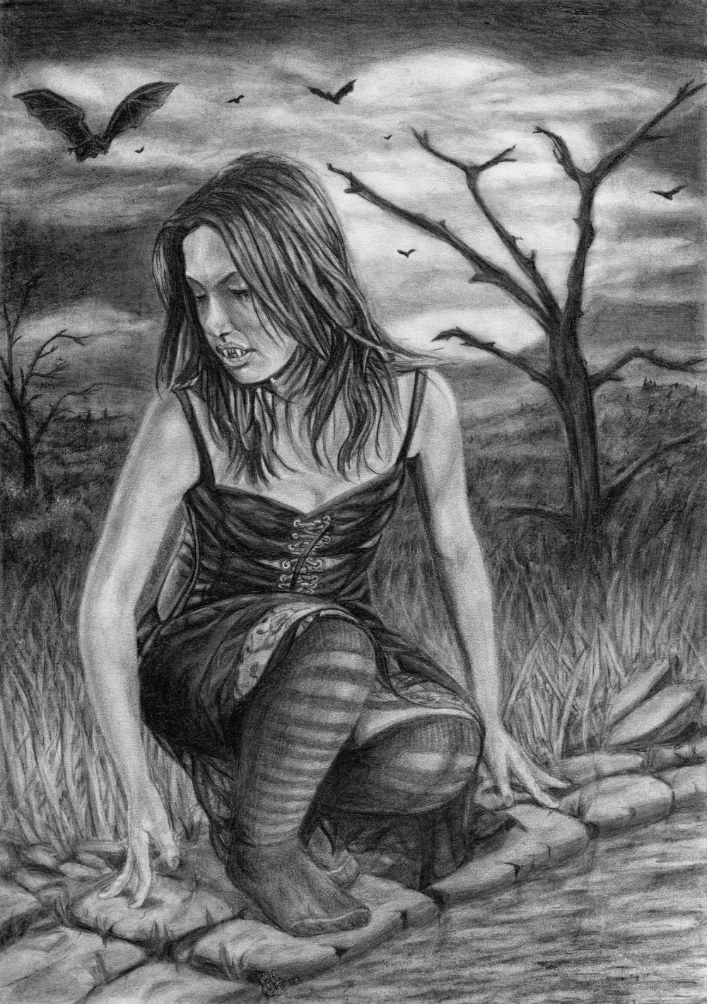 Original female vampire drawing. Gothic/fantasy art by artist Dean Sidwell