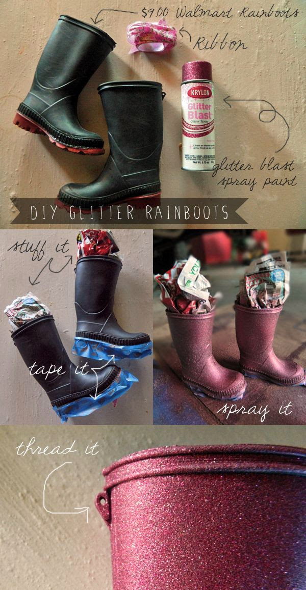 Diy customizar botas de niña con purpurina en spray