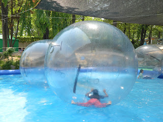 Sleeping on the water in the bubble ball