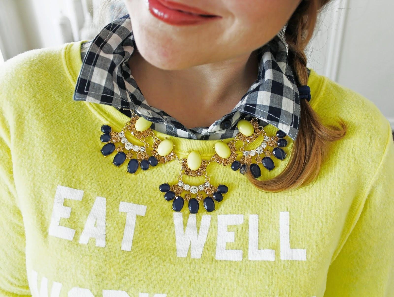 Wildfox Yellow Mantra Sweatshirt, Target Statement Necklace, Gingham Navy Gap Shirt, Wildfox yellow mantra sweatshirt