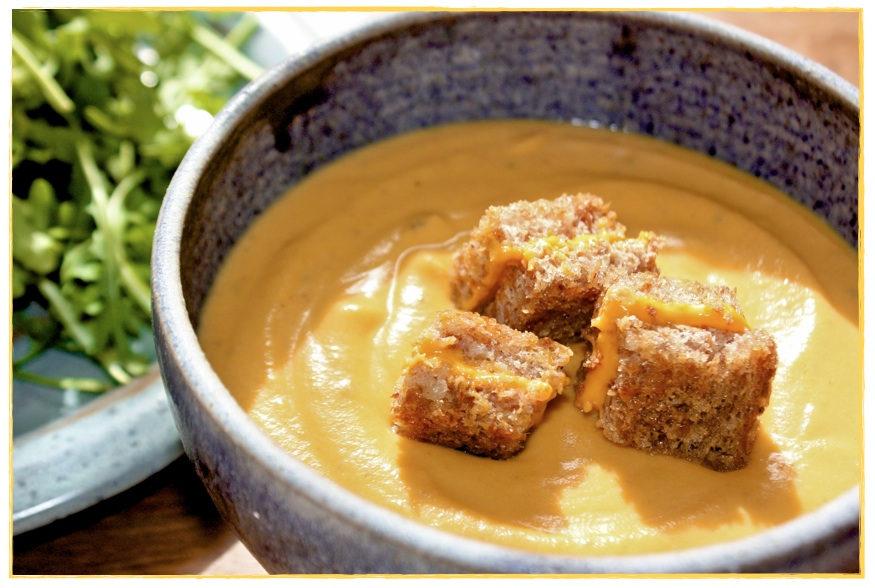 ... . Vegan. Roasted. Butternut Squash Soup + Grilled Cheeze Croutons