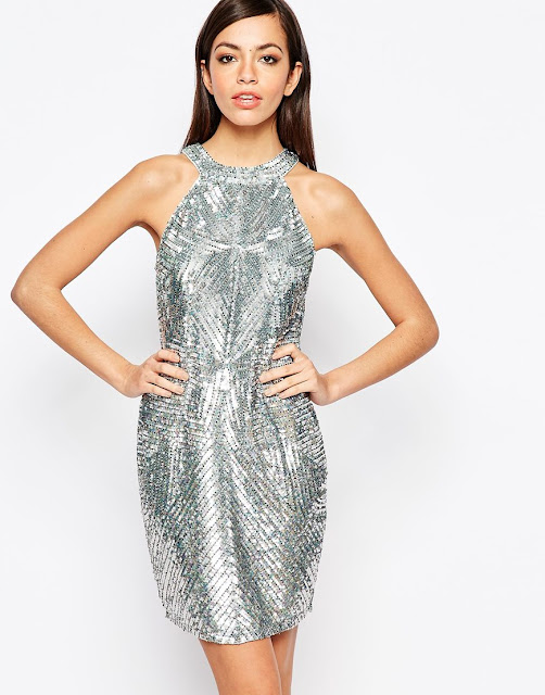 new look silver sequin dress, silver sequin halterneck dress