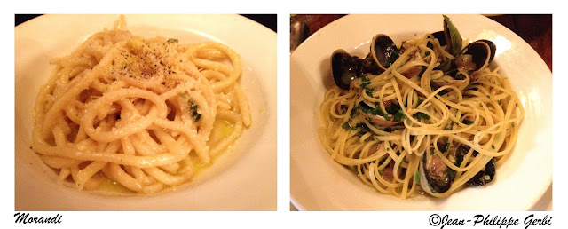 Image of Linguine a la Vongole and spaghetti with lemon and parmesan at Morandi in NYC, New York